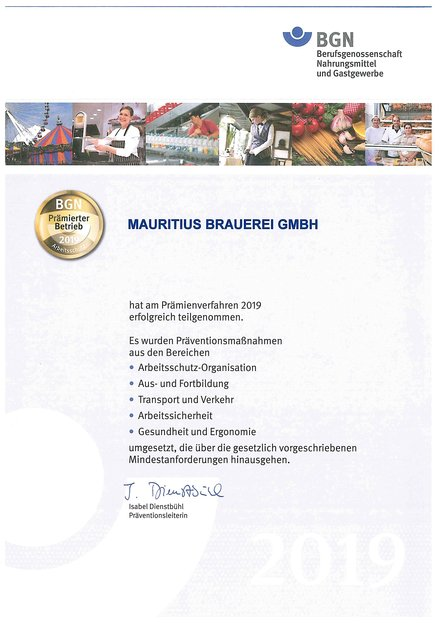 Mauritius: Brewery: Sustainability: Occupational safety